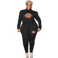Casual Black Plus Size Puff Sleeve Rope Printed Stitching Two Piece Outfits