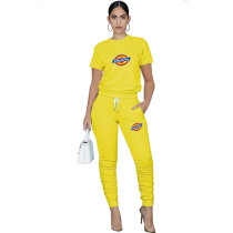 Casual Solid Yellow Pullover Round Neck Printed Lounge Wear Short Sleeve Blouse Stacked Trousers