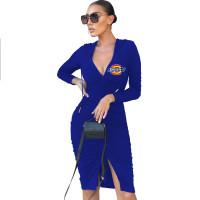Solid Blue Deep V Slit Tie Rope Stacked Hoodies Midi Dress