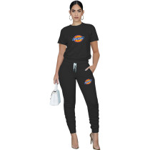 Casual Solid Black Pullover Round Neck Printed Lounge Wear Short Sleeve Blouse Stacked Trousers