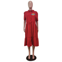 Red Plus Size Turn-down Neck Printed Stitching Pleated Midi Dress with Button