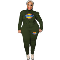 Casual Army Green Plus Size Puff Sleeve Rope Printed Stitching Two Piece Outfits