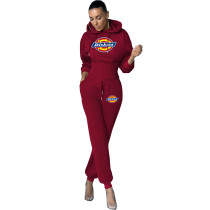 Women Two Piece Solid Color Wine Red Printed Sweatpant Hoodie Set
