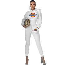 Women Two Piece Solid Color White Printed Sweatpant Hoodie Set