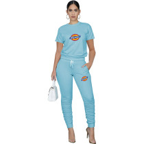 Casual Solid Light Blue Pullover Round Neck Printed Lounge Wear Short Sleeve Blouse Stacked Trousers