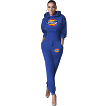 Women Two Piece Solid Color Blue Printed Sweatpant Hoodie Set