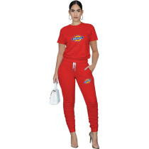 Casual Solid Red Pullover Round Neck Printed Lounge Wear Short Sleeve Blouse Stacked Trousers