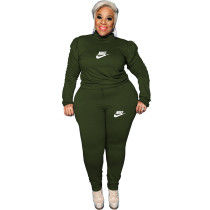 Casual Army Green Puff Sleeve Rope Printed Stitching Two Piece Plus Size Set