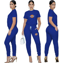 Casual Solid Royal Blue Pullover Round Neck Printed Lounge Wear Short Sleeve Blouse Stacked Trousers