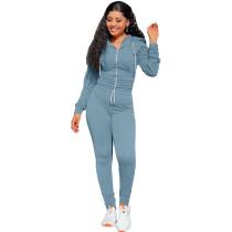 Autumn Winter Grayish Blue Elastic Waist Zipper Sports Hoodie Jogger Set