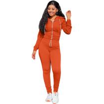 Autumn Winter Orange Elastic Waist Zipper Sports Hoodie Jogger Set