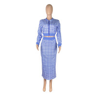 Dark Blue Printed Threaded Plaid 2 Two Piece Set Women Long Sleeve Jackets Bodycon Mid Skirts Suit