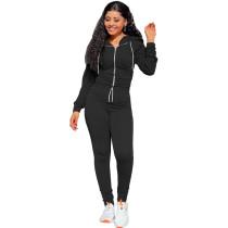 Autumn Winter Black Elastic Waist Zipper Sports Hoodie Jogger Set