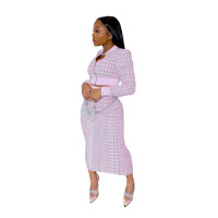 Pink Printed Threaded Plaid 2 Two Piece Set Women Long Sleeve Jackets Bodycon Mid Skirts Suit