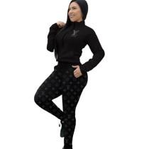 Casual Black Zipper Print High Neck Sweatshirt Pant Set