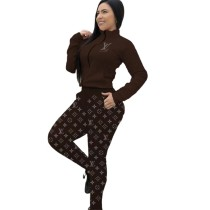 Casual Brown Zipper Print High Neck Sweatshirt Pant Set