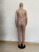 Casual Camel Zipper Print High Neck Sweatshirt Pant Set