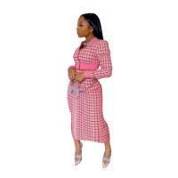 Red Printed Threaded Plaid 2 Two Piece Set Women Long Sleeve Jackets Bodycon Mid Skirts Suit