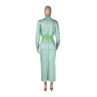 Green Printed Threaded Plaid 2 Two Piece Set Women Long Sleeve Jackets Bodycon Mid Skirts Suit