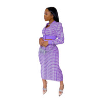 Purple Printed Threaded Plaid 2 Two Piece Set Women Long Sleeve Jackets Bodycon Mid Skirts Suit