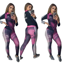 Casual Sports High Neck Printed Dyeing Brand Women Clothing 2 Pcs Set