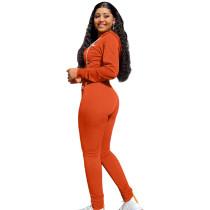 Autumn Winter Orange Elastic Printed Letter Zipper Sports Hoodie Jogger Set For Women