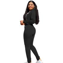 Autumn Winter Black Elastic Printed Letter Zipper Sports Hoodie Jogger Set For Women
