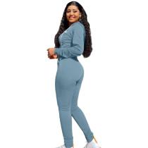 Autumn Winter Grayish Blue Elastic Printed Letter Zipper Sports Hoodie Jogger Set For Women