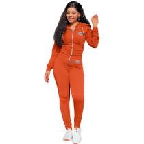 Autumn Winter Orange Elastic Printed Letter Zipper Sports Hoodie Jogger Set
