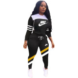 Winter Black Sports Letter Printing Hooded Two Piece Casual Set