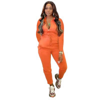 Solid Color Orange Zipper Turn-down Neck Jumpsuits with Pockets