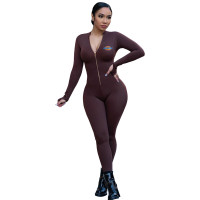 Women Yoga Clothes Coffee Pyrograph Zipper One Piece Jumpsuit