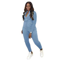 Solid Color Light Blue Zipper Turn-down Neck Jumpsuits with Pockets