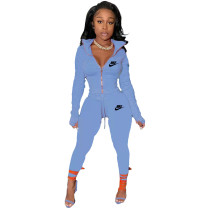 Sky Blue Famous Brands Women Zipper Printed Turn-down Neck Tracksuit Set