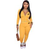 Yellow Ladies Designer Clothes Long Sleeve Printed Sportswear Nike Sweatsuits Pant Sets