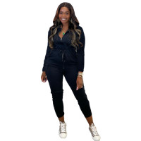 Solid Color Black Zipper Turn-down Neck Jumpsuits with Pockets