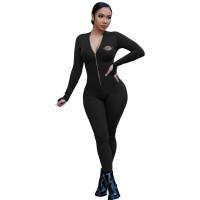 Women Yoga Clothes Black Pyrograph Zipper One Piece Jumpsuit