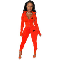 Red Famous Brands Women Zipper Printed Turn-down Neck Tracksuit Set