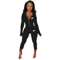 Black Famous Brands Women Zipper Printed Turn-down Neck Tracksuit Set