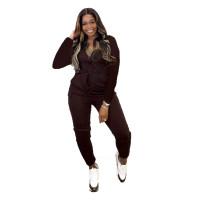 Solid Color Zipper Turn-down Neck Jumpsuits with Pockets