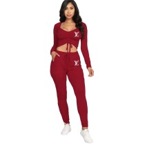 Casual Solid Wine Red Offset Printing Drawstring Stacked Crop Top Two Piece Outfits
