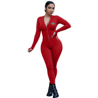 Women Yoga Clothes Red Pyrograph Zipper One Piece Jumpsuit
