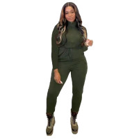 Solid Color Dark Green Zipper Turn-down Neck Jumpsuits with Pockets