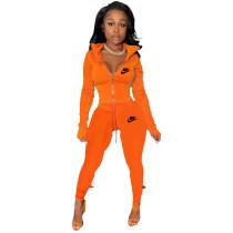 Orange Famous Brands Women Zipper Printed Turn-down Neck Tracksuit Set