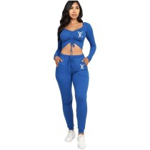 Casual Solid Royal Blue Offset Printing Drawstring Stacked Crop Top Two Piece Outfits