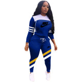 Winter Blue Sports Letter Printing Hooded Two Piece Casual Set
