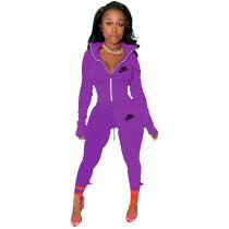 Purple Famous Brands Women Zipper Printed Turn-down Neck Tracksuit Set