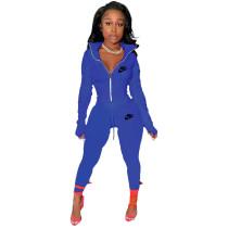 Blue Famous Brands Women Zipper Printed Turn-down Neck Tracksuit Set