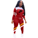 Winter Red Sports Letter Printing Hooded Two Piece Casual Set