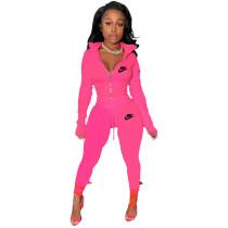Rose Famous Brands Women Zipper Printed Turn-down Neck Tracksuit Set